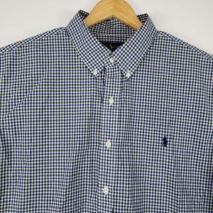 Ralph Lauren Mens Size XXL Checkered Dress Shirt